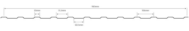 Lineve - Desenho Técnico - Cobertura em - Chapa Lacada - Chapa Perfilada - 11 Ondas