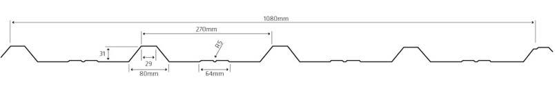 Lineve - Desenho Técnico - Cobertura em Chapa Lacada - Chapa Perfilada - 5 Ondas
